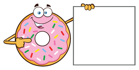 Donut Cartoon Mascot Character With Sprinkles Pointing A Banner. Vector Illustration Isolated On White Background