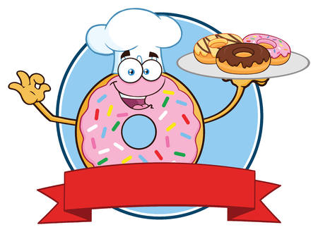 Chef Donut Cartoon Mascot Character With Sprinkles Circle Label Design. Vector Illustration Isolated On White Background