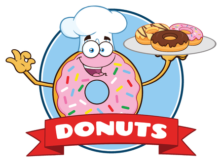 Chef Donut Cartoon Mascot Character With Sprinkles Circle Label Design. Vector Illustration Isolated On White Background With Text