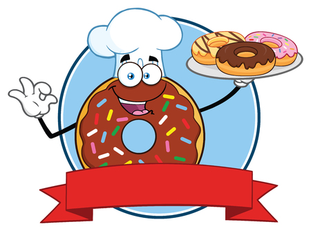 Chocolate Chef Donut Cartoon Mascot Character With Sprinkles Circle Label Design. Vector Illustration Isolated On White Background