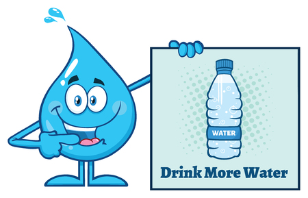 Blue Water Drop Cartoon Mascot Character Pointing A Drink More Water Sign. Vector Illustration Isolated On White Background Stock Photo