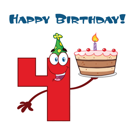 Funny Red Number Four Cartoon Mascot Character Holding Up A Birthday Cake. Vector Illustration Isolated On White Background With Text Happy Birthday Stock Photo