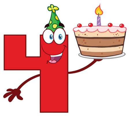 Funny Red Number Four Cartoon Mascot Character Holding Up A Birthday Cake. Vector Illustration Isolated On White Background