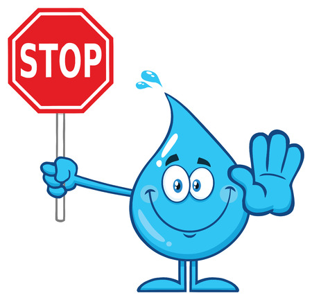 Smiling Blue Water Drop Cartoon Mascot Character Holding A Stop Sign Stok Fotoğraf