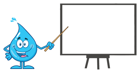 Talking Blue Water Drop Cartoon Mascot Character  Using A Pointer Stick During A Presentation. Vector Illustration Isolated On White Background