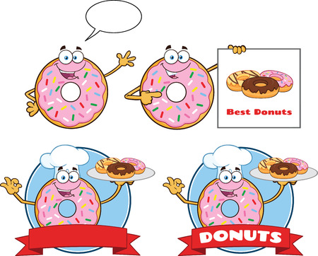 Donut Cartoon Mascot Character Set 4. Vector Collection Isolated On White Background