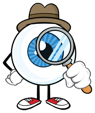 Eyeball Detective Cartoon Mascot Character Look With A Magnifying Glass. Vector Illustration Isolated On White Background