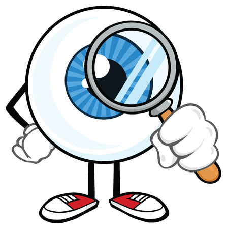 Eyeball Cartoon Mascot Character With A Magnifying Glass. Vector Illustration Isolated On White Background Stock Photo