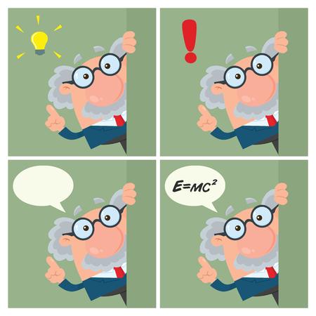 Professor Or Scientist Cartoon Character Set 3. Vector Illustration Flat Design With Background