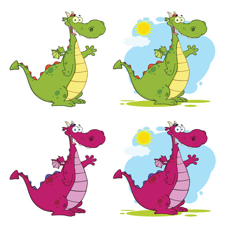 Dragon Cartoon Mascot Character Set. Vector Collection Isolated On White Background