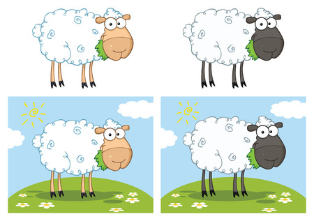 Sheep Cartoon Mascot Character Set 1. Vector Collection Isolated On White Background