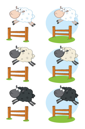 Sheep Cartoon Mascot Character Set 7. Vector Collection Isolated On White Background