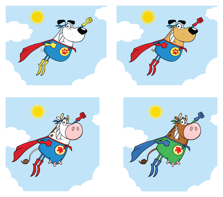 Super Hero Dog And Cow Cartoon Mascot Character Set 2.Vector Collection Isolated On White Background
