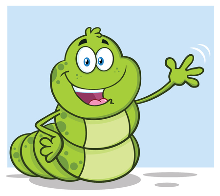 Happy Book Worm Cartoon Mascot Character Waving For Greeting. Vector Illustration Isolated On White Background