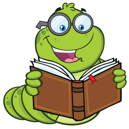 Book Worm Cartoon Mascot Character With Glasses Reading A Book. Vector Illustration Isolated On White Background 版權商用圖片
