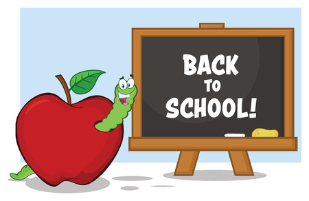 Happy Worm Cartoon Mascot Character In A Red Apple With A Back To School Chalk Board. Vector Illustration Isolated On White Background Standard-Bild
