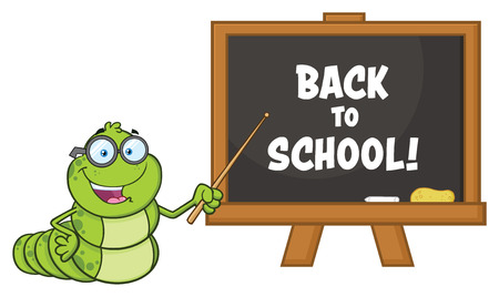 Book Worm Teacher Cartoon Character With Glasses Pointing To A Chalkboard. Vector Illustration Isolated On White Background With Text