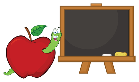 Happy Worm Cartoon Mascot Character In A Red Apple With A School Chalk Board. Vector Illustration Isolated On White Background