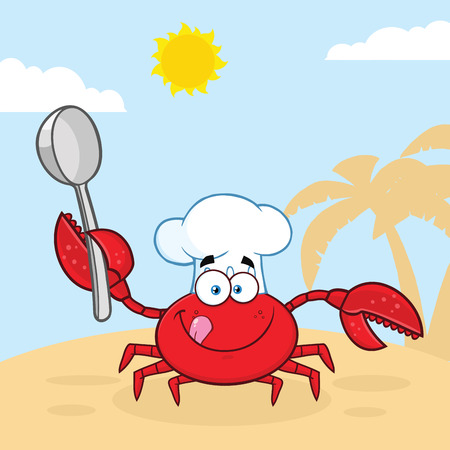 Crab Chef Cartoon Mascot Character Holding A Spoon. Vector Illustration With Beach Background