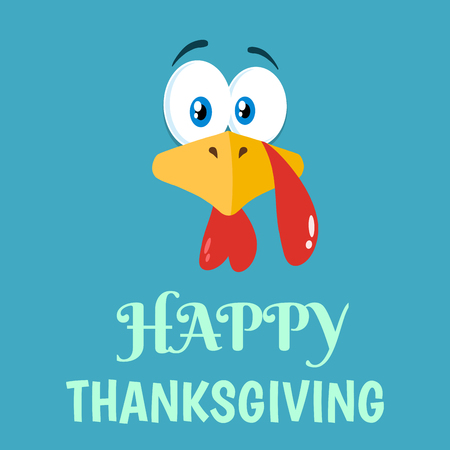 Thanksgiving Turkey Bird Face Cartoon Character Flat Blue Label. Vector Illustration Background With Text
