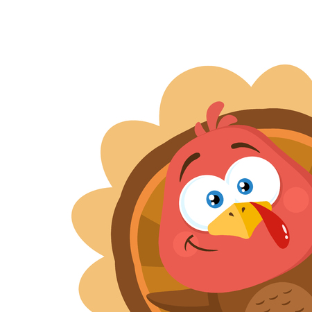Happy Turkey Bird Cartoon Character Waving From A Corner. Vector Illustration Flat Design Isolated On White Background