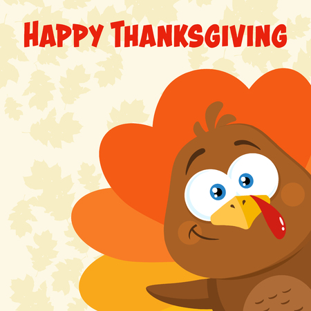 Happy Turkey Bird Cartoon Character Waving From A Corner. Vector Illustration Flat Design With Background And Text