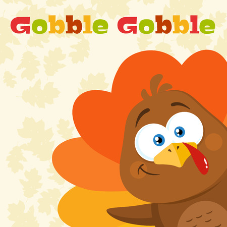 Funny Turkey Bird Cartoon Character Waving From A Corner. Vector Illustration Flat Design With Background And Text