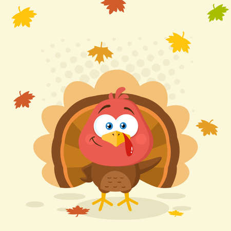 Cute Turkey Bird Cartoon Character Waving. Vector Illustration Flat Design With Background