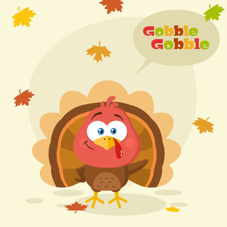 Cute Turkey Bird Cartoon Character Waving. Vector Illustration Flat Design With Background And Text
