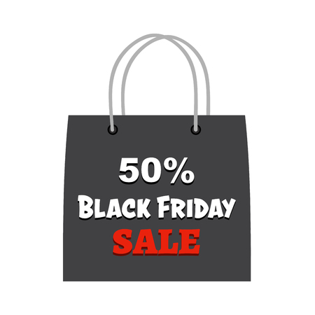 Black Friday Shopping Bag With Text. Vector Illustration Flat Design Isolated On White Background