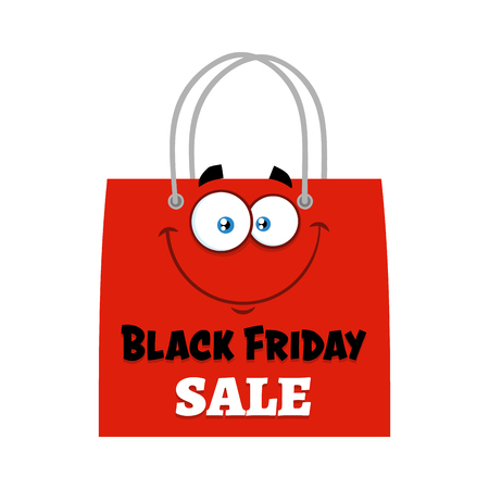 Black Friday Red Shopping Bag Cartoon Character With Text. Vector Illustration Flat Design Isolated On White Background