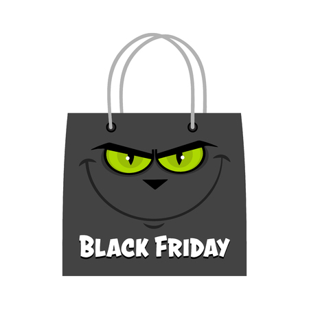 Black Friday Shopping Bag With Cat Face And Text. Vector Illustration Flat Design Isolated On White Background Фото со стока