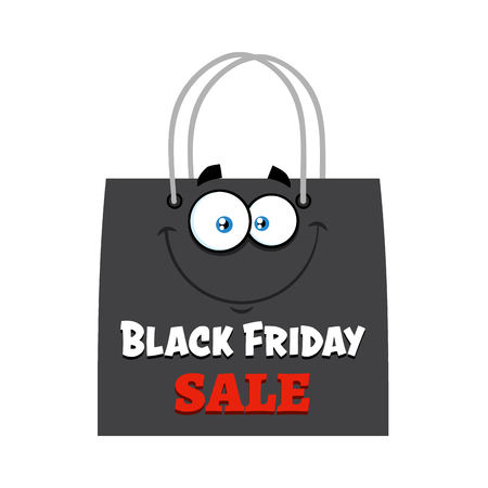 Black Friday Shopping Bag Cartoon Character With Text. Vector Illustration Flat Design Isolated On White Background Фото со стока