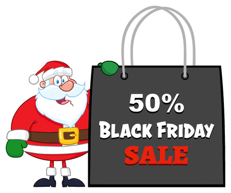 Santa Claus Cartoon Character Showing Shopping Bag Black Friday. Vector Illustration Isolated On White Background Фото со стока