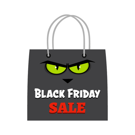 Black Friday Shopping Bag With Cat Eyes And Text. Vector Illustration Flat Design Isolated On White Background