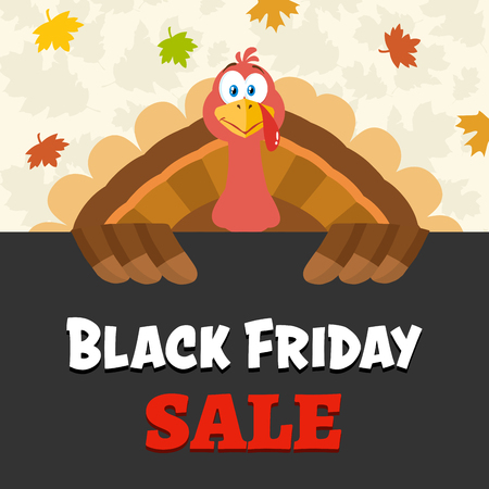 Turkey Bird Cartoon Mascot Character Over A Sign Black Friday Sale. Vector Illustration Flat Design Over Background With Autumn Leaves Фото со стока