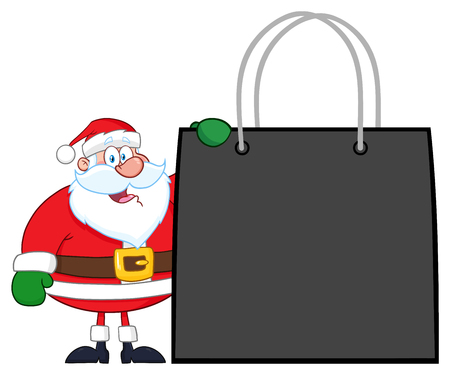 Santa Claus Cartoon Character Showing Shopping Bag. Vector Illustration Isolated On White Background