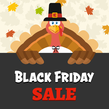 Pilgrim Turkey Bird Cartoon Mascot Character Over A Sign Black Friday Sale. Vector Illustration Flat Design Over Background With Autumn Leaves Фото со стока