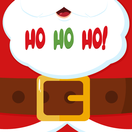 Santa Claus Message Banner With Text Ho Ho Ho. Vector Illustration Flat Design Background Фото со стока