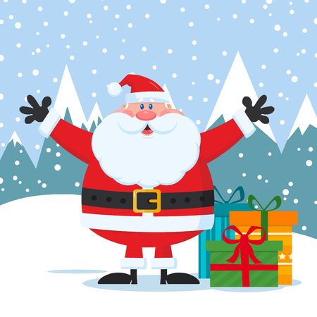 Jolly Santa Claus Cartoon Mascot Character With Open Arms And Gifts Boxes. Vector Illustration Flat Design With Background