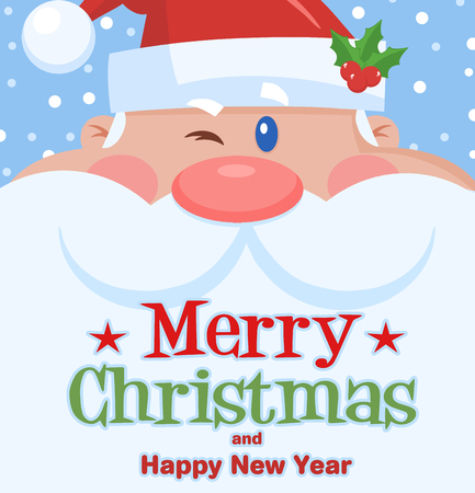 Winking Santa Claus Cartoon Character Face Portrait. Vector Illustration Flat Design With Background  And Text Merry Christmas Фото со стока