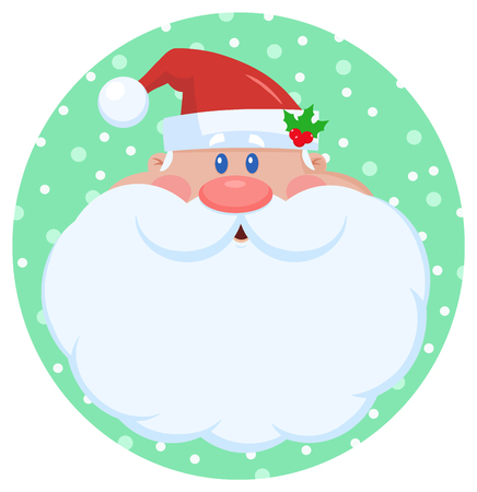 Santa Claus Cartoon Character Face Portrait. Vector Illustration Flat Design Isolated On White Background Фото со стока