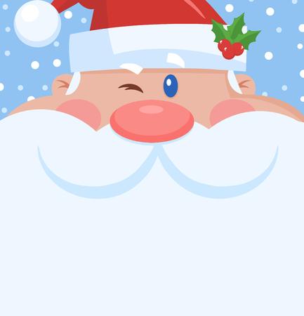 Winking Santa Claus Cartoon Character Face Portrait. Vector Illustration Flat Design With Background Фото со стока