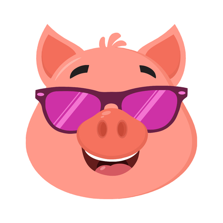 Smiling Pig Cartoon Character Face Portrait With Sunglasses. Vector Illustration Flat Design