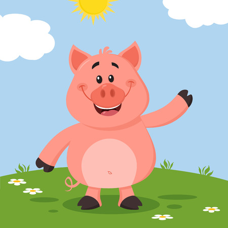 Cute Pig Cartoon Character Waving For Greeting. Vector Illustration Flat Design With Landscape Background Фото со стока