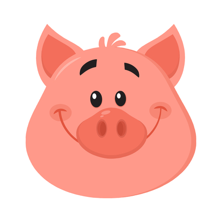 Cute Pig Head Cartoon Character Face Portrait.Vector Illustration Isolated On White Background