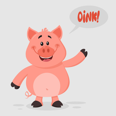 Cute Pig Cartoon Character Waving For Greeting. Vector Illustration Flat Design With Background And Text Oink Фото со стока
