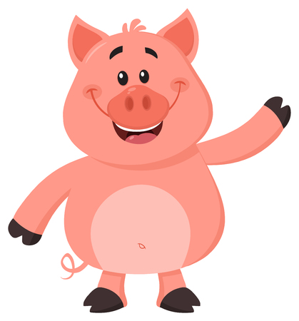 Cute Pig Cartoon Character Waving For Greeting. Vector Illustration Flat Design Isolated On White Background Фото со стока