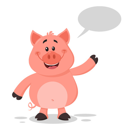 Happy Pig Cartoon Character Waving For Greeting Vector Illustration Flat Design Isolated On White Background With Speech Bubble.