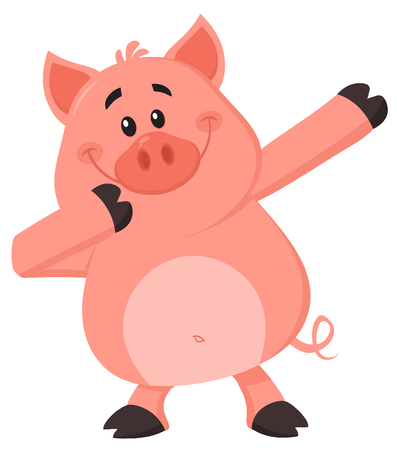 Dabbing Pig Cartoon Character. Vector Illustration Flat Design Isolated On White Background